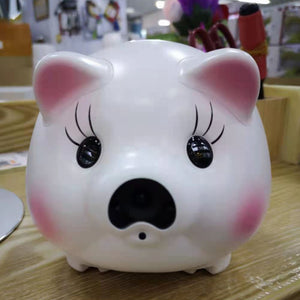 Cartoon Cute Piggy Bank Baby Monitor for Gift Coin Savings Box LED Night Light Live Voice & Image Video Monitoring by Mobile APP