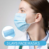 50pcs/Box Disposable Face Masks 3 Layers Non-Woven Cloth Filter Bacteria Earloop Mouth Cover
