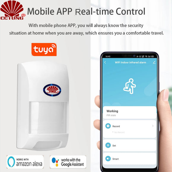 Smart Wifi Tuya APP PIR Motion Sensor with Intelligent Human Body Movement Recognition & Wide Range PET Proof Infrared Detector