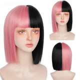 12 Inch Short Bob Wig With Bangs for Women Synthetic Bob Wigs Black Pink Purple Wig for Party Daily