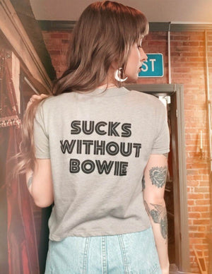Sucks Without Bowie Crop Top in Grey - Wild Ones