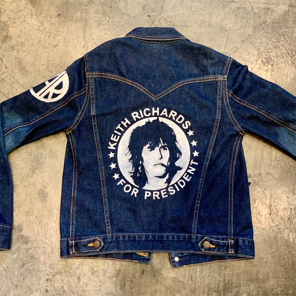 Keith Richards For President Custom Denim Jacket Women's S and M - Wild Ones