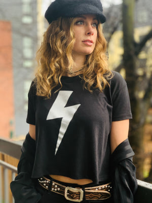 Sucks Without Bowie Crop Top in Black - Wild Ones