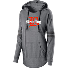 "Load image into Gallery viewer, Women's light-weight Hooded Pullover featuring the ""B with Beadling"" logo"