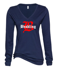 "Ladies Long Sleeve V-Neck Shirt featuring the ""B with Beadling"" logo"