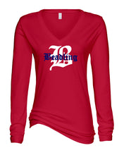 "Load image into Gallery viewer, Ladies Long Sleeve V-Neck Shirt featuring the ""B with Beadling"" logo"