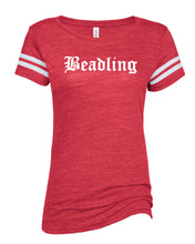 "Load image into Gallery viewer, Ladies Vintage Tri-Blend Tee featuring the ""Beadling"" logo"