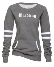 "Load image into Gallery viewer, Ladies Varsity Fleece Crewneck Pullover featuring the ""Beadling"" logo"