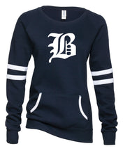 "Load image into Gallery viewer, Ladies Varsity Fleece Crewneck Pullover featuring ""B"" logo"