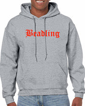 "Load image into Gallery viewer, Adult 50/50 Hooded Sweatshirt featuring the ""Beadling"" logo"