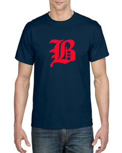 "Adult 50/50 Short Sleeve T-Shirt featuring the ""B"" logo"