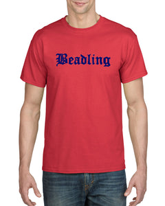 "Adult 50/50 Short Sleeve T-Shirt featuring the ""Beadling"" logo"