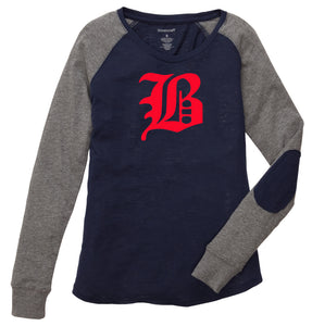 "Ladies Preppy Patch T-Shirt featuring the ""B"" logo"