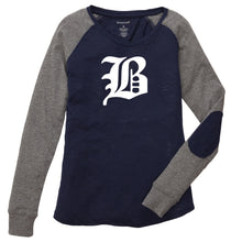 "Load image into Gallery viewer, Ladies Preppy Patch T-Shirt featuring the ""B"" logo"