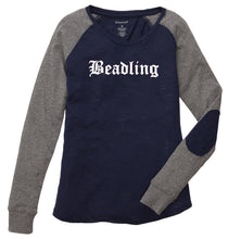 "Load image into Gallery viewer, Ladies Preppy Patch T-Shirt featuring the ""Beadling"" logo"
