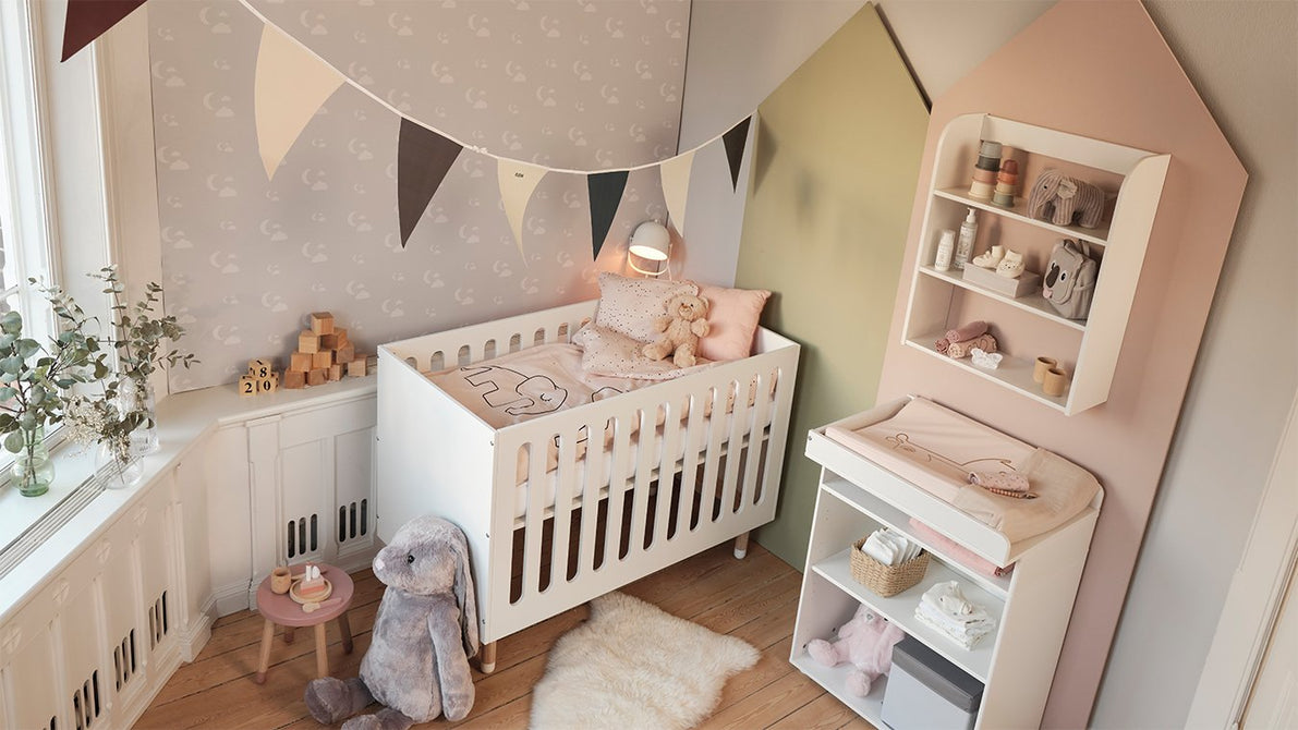 BABY is a complete collection of children furniture for babies and toddlers. The collection consists of a baby cot with 5 stages, a high chair, a junior chair, a changing table and soft textiles made of cotton satin.