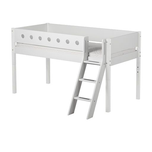 FLEXA White mid-high bed with slanting ladder and colored safety rail. Legs in solid birch.