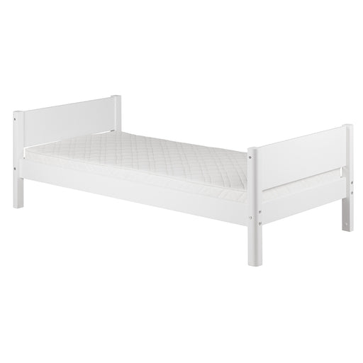 FLEXA USA White single bed in MDF with legs in solid birch
