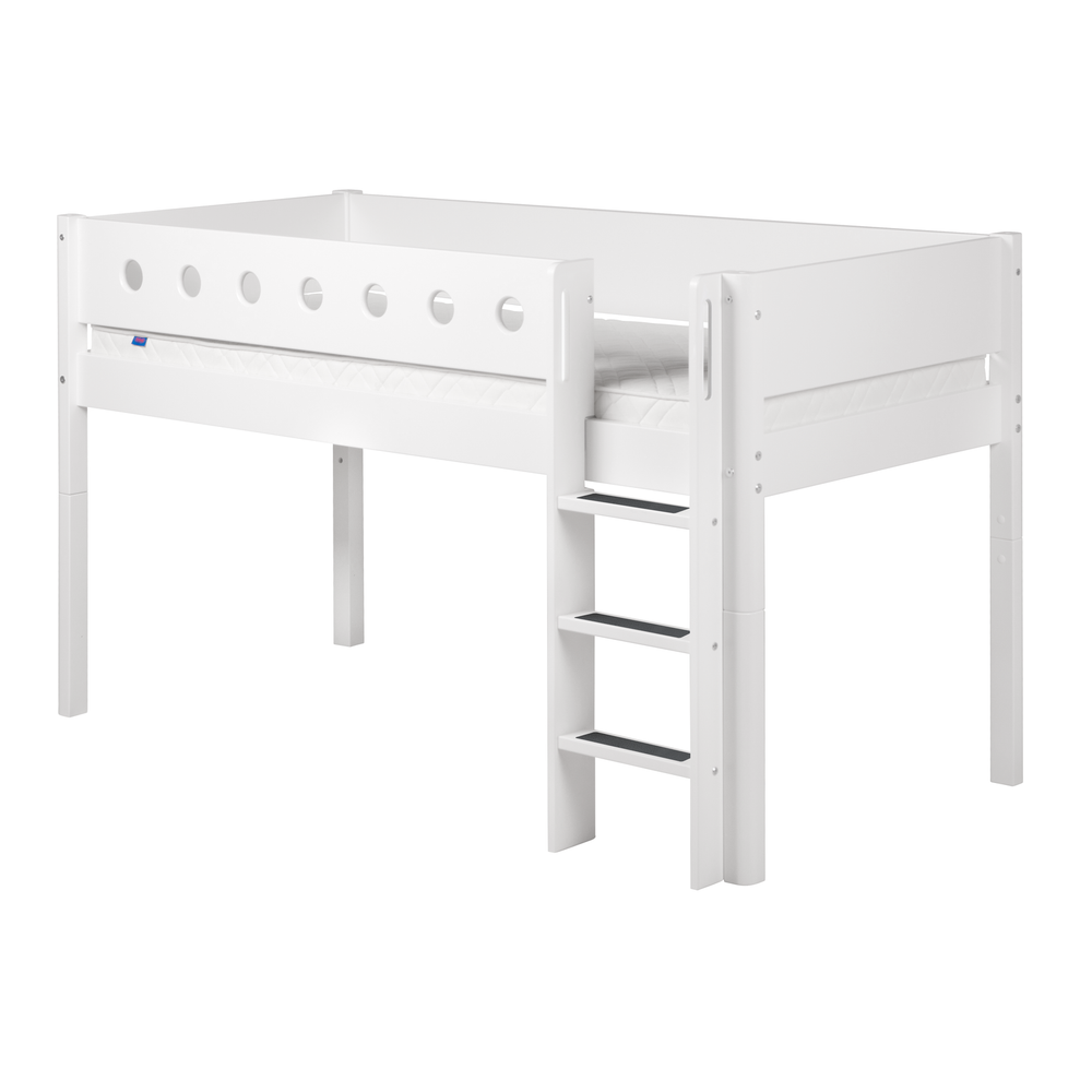 White - Mid-high bed with straight ladder and white safety rail - White - Kids Furniture | Flexa USA