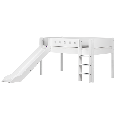 White - Mid-high bed with straight ladder, slide and white safety rail - White - Kids Furniture | Flexa USA