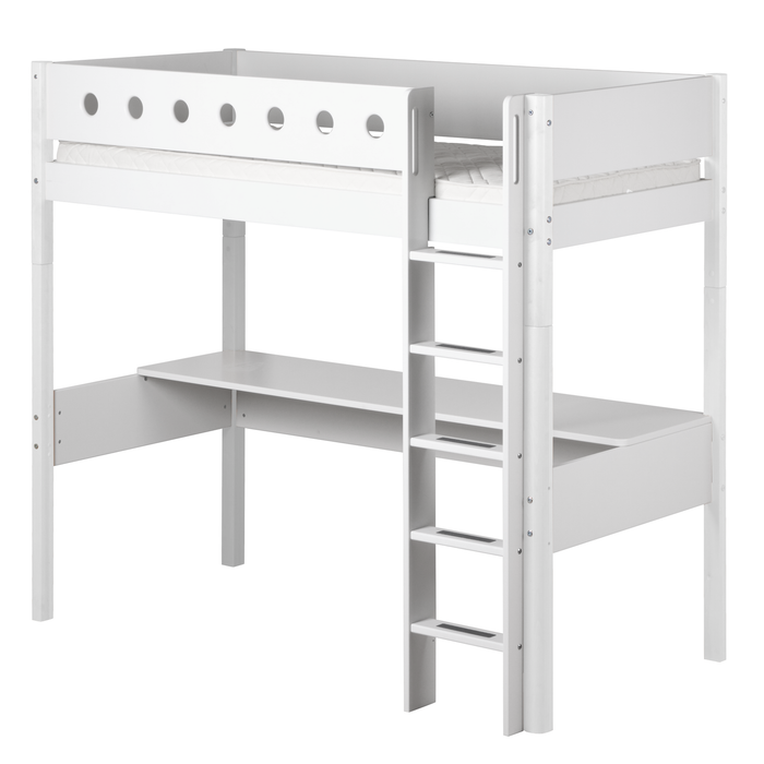 White - High Bed with Straight Ladder and Desk - White - Kids Furniture | Flexa USA