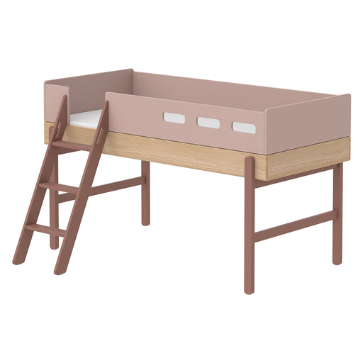 Popsicle - Mid-high bed with slanting ladder - Oak/Cherry