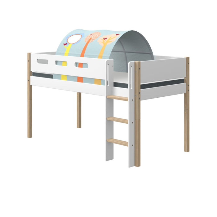 Nor - Mid-high Bed with Straight Ladder and Slide - Oak/White - Kids Furniture | Flexa USA