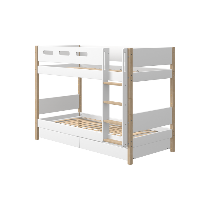 Nor - Bunk Bed with 2 Drawers - Oak/White - Kids Furniture | Flexa USA