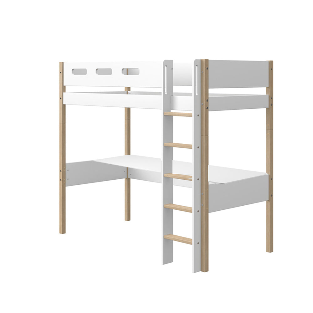 Nor - High Bed with Straight Ladder and Desk - Clear Lacquer/White - Kids Furniture | Flexa USA