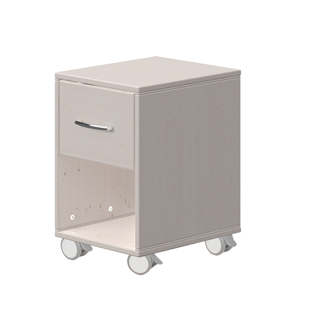 Classic - Chest with 1 drawerwith Wheels - Grey washed - Kids Furniture | Flexa USA