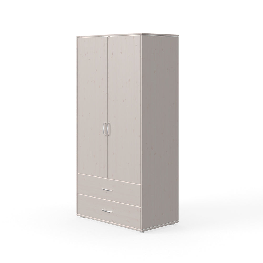 Classic - Wardrobe with 2 doors and 2 drawers - Grey washed - Kids Furniture | Flexa USA