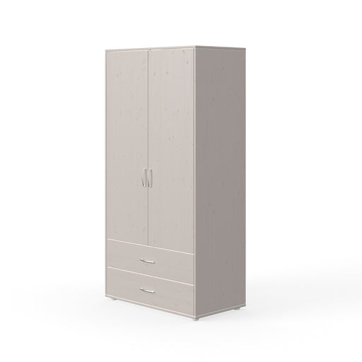 Classic - Wardrobe with 2 doors and 2 drawers - Grey washed