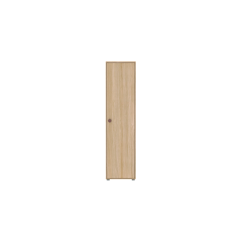 Popsicle - High single wardrobe with 1 doors, 4 shelves - Oak/Cherry - Kids Furniture | Flexa USA