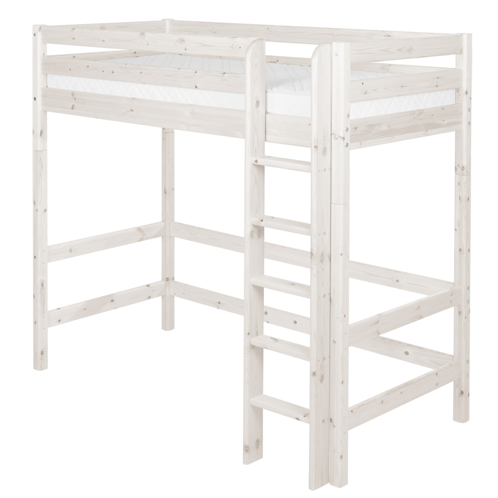 Classic- High bed with straight ladder - White Washed - Kids Furniture | Flexa USA
