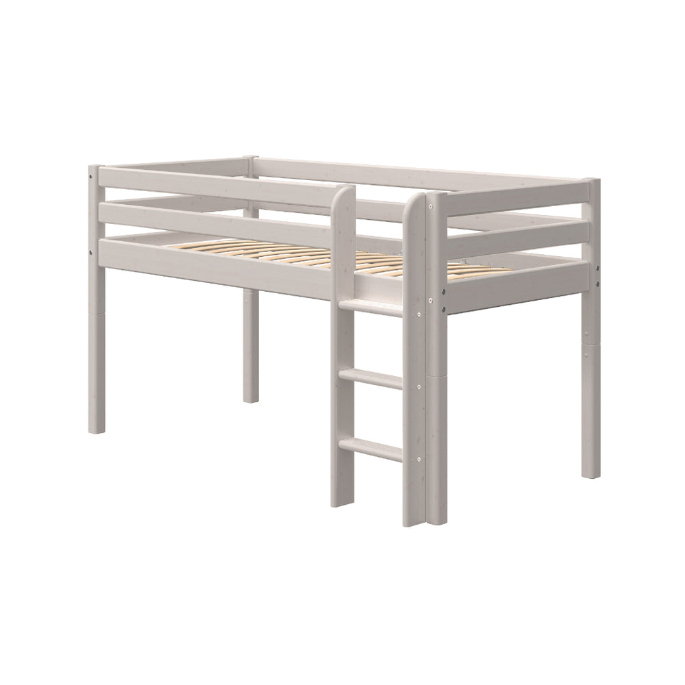 Classic - Mid-high bed with straight ladder - Grey Washed - Kids Furniture | Flexa USA