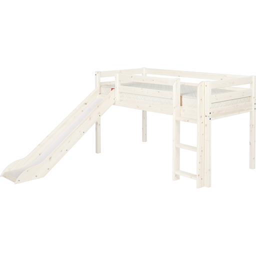 Classic - Mid-high bed with straight ladder and slide - White Washed - Kids Furniture | Flexa USA