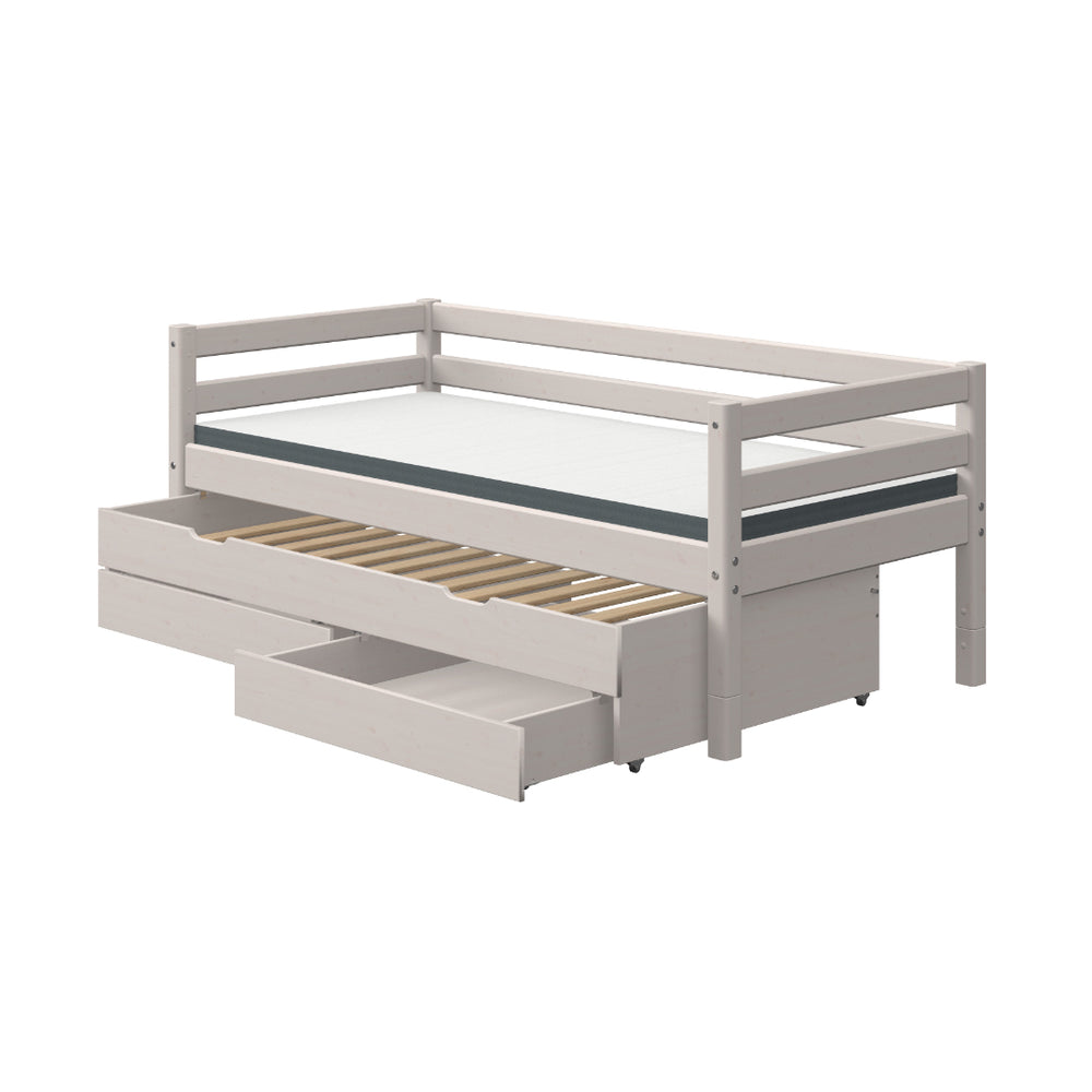 Classic - Single bed with pull out bed and drawers - Grey Washed - Kids Furniture | Flexa USA