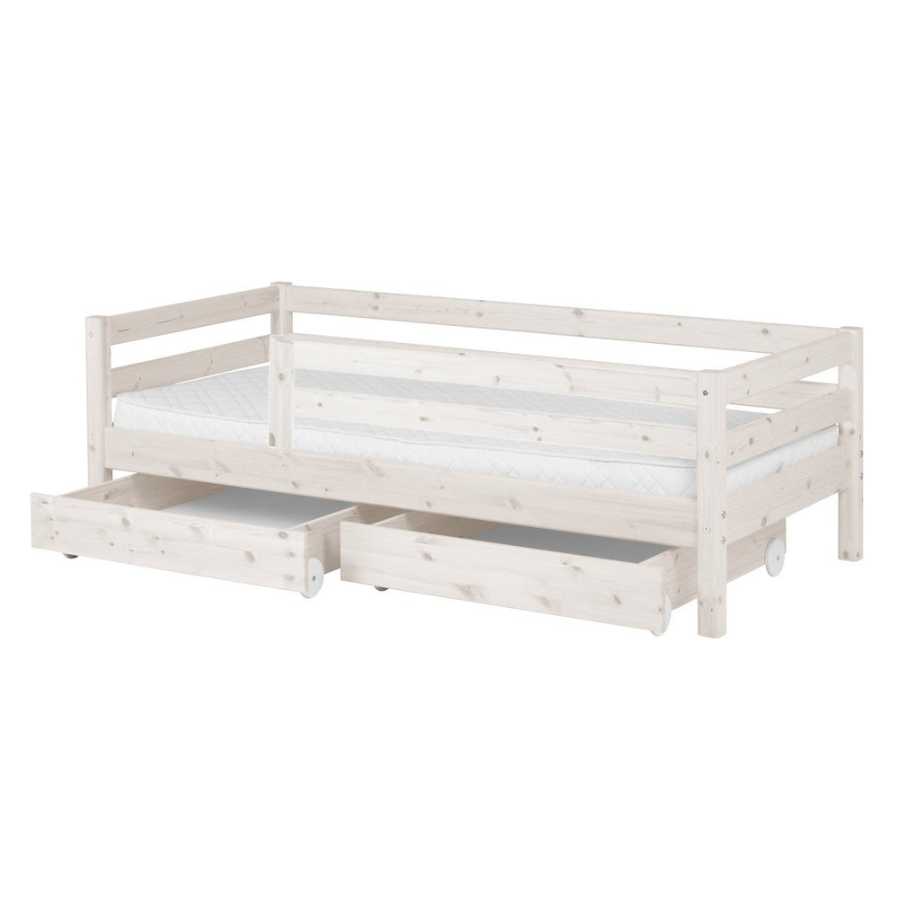 Classic - Single bed with Safety rail and Drawer - White Washed - Kids Furniture | Flexa USA
