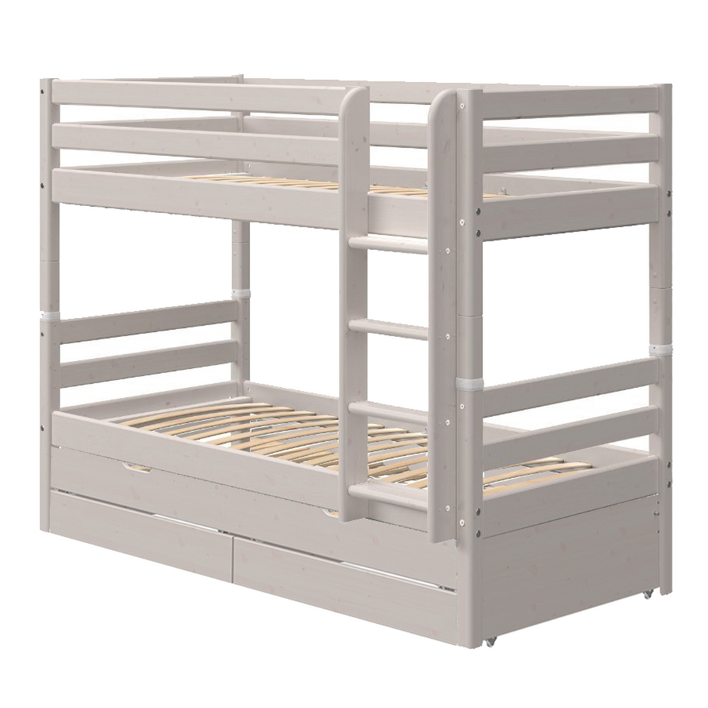 Classic - Bunk bed with Guest Bed and 2 Drawers - Grey washed