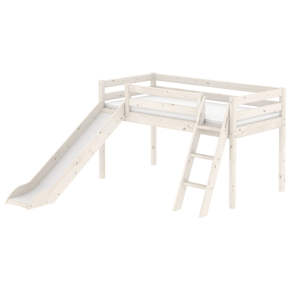 Classic - Mid-high bed with slide and slanting ladder -White Washed - Kids Furniture | Flexa USA