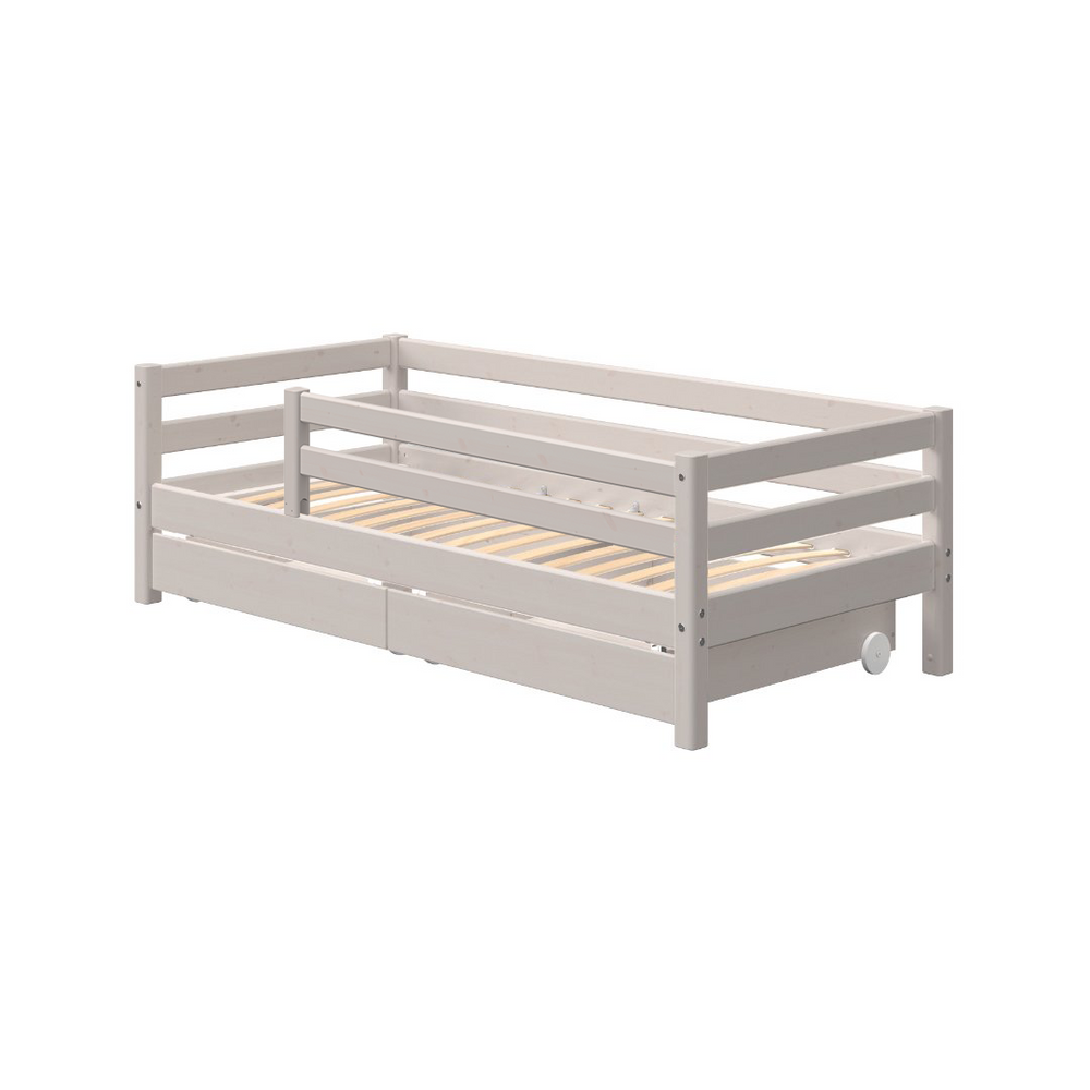 Classic - Day bed with 3/4 Safety Rail and Drawers - Grey Washed - Kids Furniture | Flexa USA