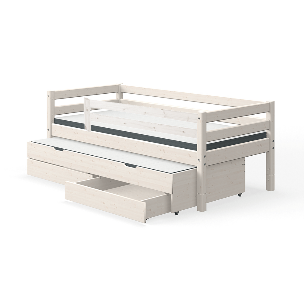 Classic - Single bed with 3/4 Safety Rail, Drawers and Guest Bed - White - Kids Furniture | Flexa USA