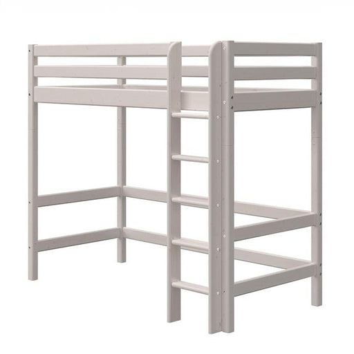 Classic- High bed with straight ladder - Grey Washed - Kids Furniture | Flexa USA