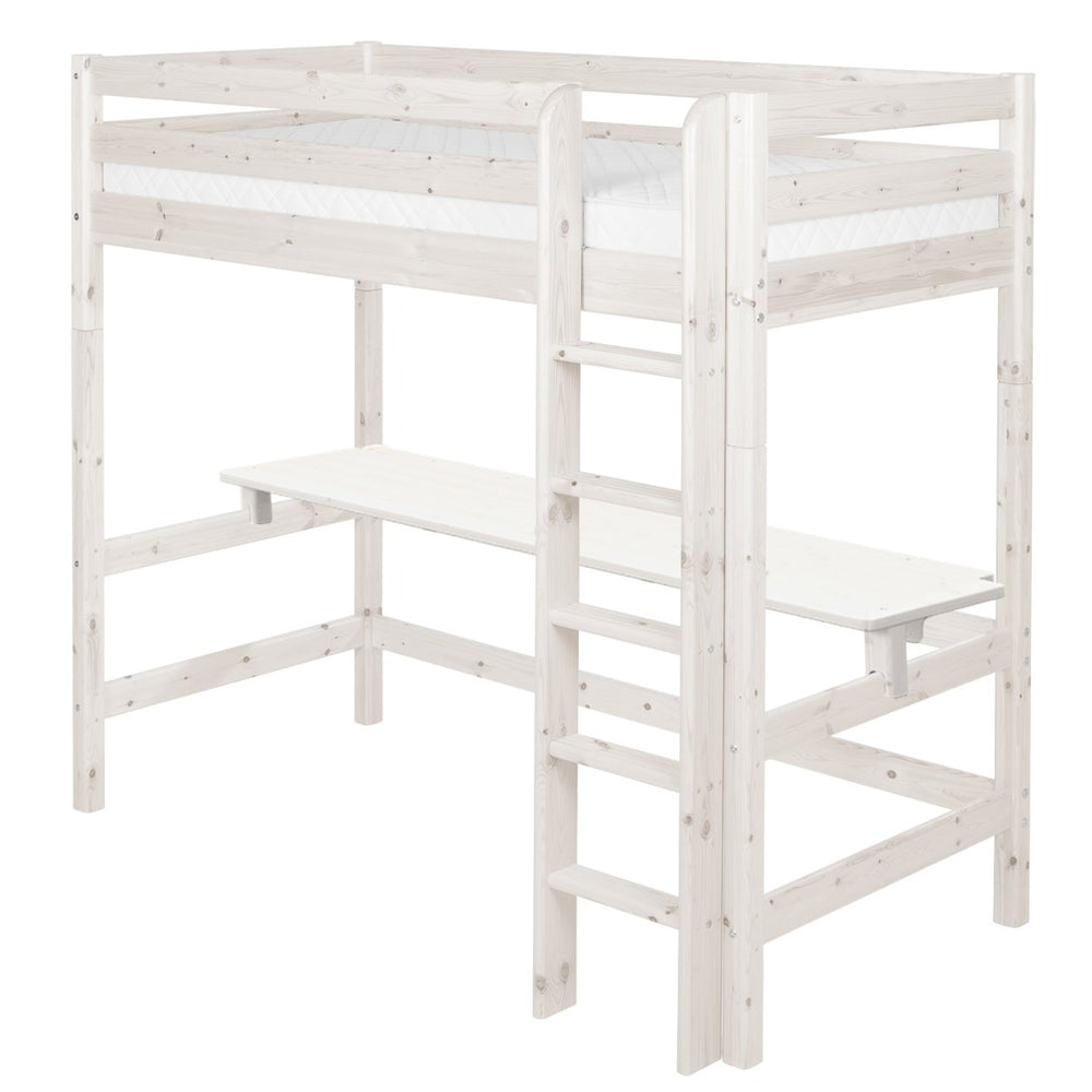 Classic - High bed with straight ladder and desk - White Washed