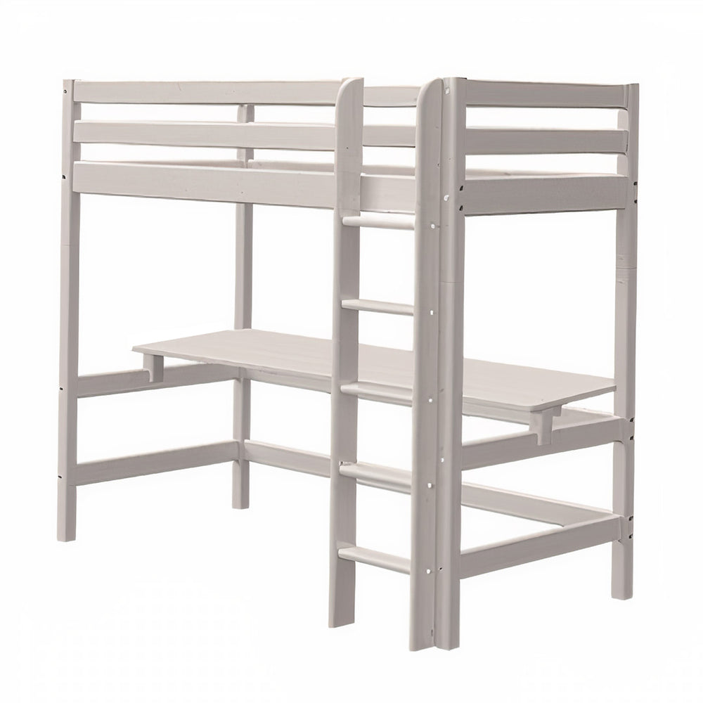 Classic - High bed with straight ladder and desk - Grey Washed