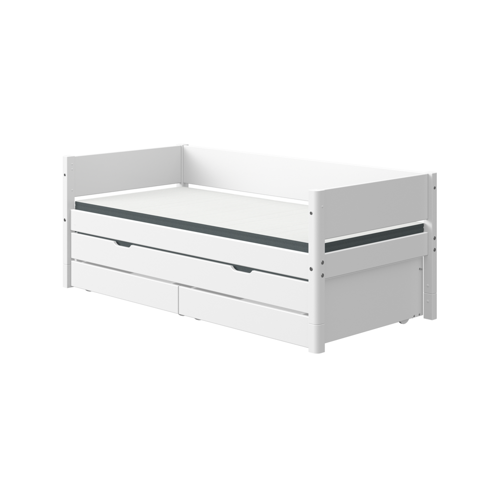 White - Daybed with guest bed and 2 drawers - White - Kids Furniture | Flexa USA