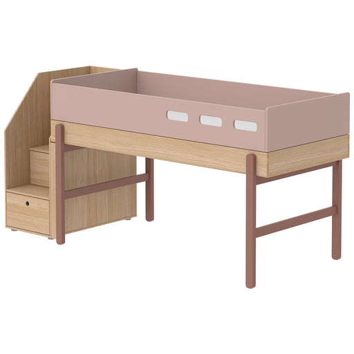 Popsicle - Mid-high bed with staircase - Oak/Cherry