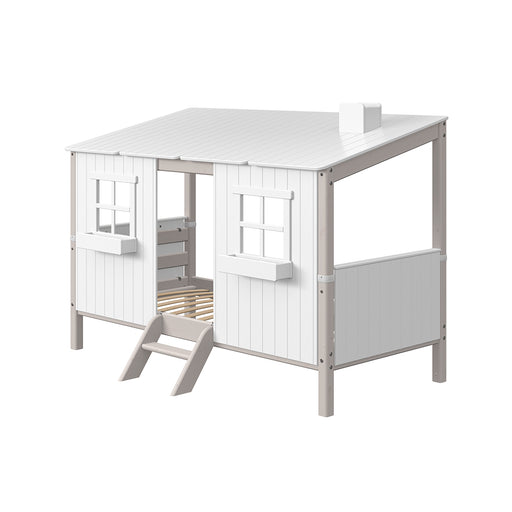 Classic - Single bed with Classic House - Grey Washed - Kids Furniture | Flexa USA