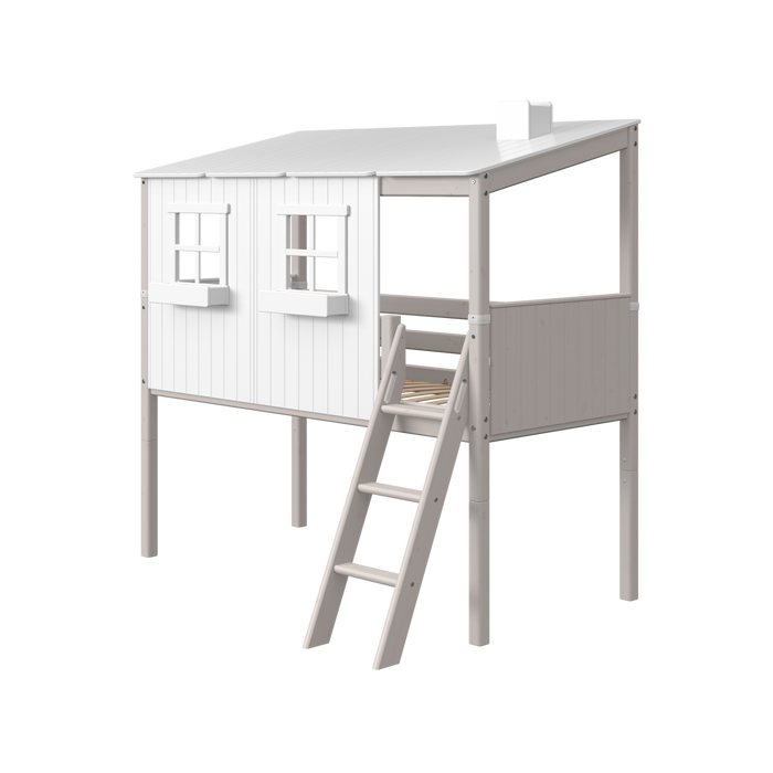 Classic - Classic house with slanting ladder - Grey Washed/White - Kids Furniture | Flexa USA