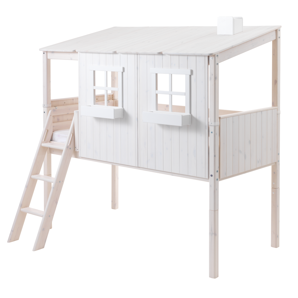 Classic - Classic house with slanting ladder - White - Kids Furniture | Flexa USA
